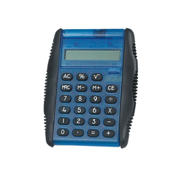 "Pocket Calculator, Flip Top 3"" x 3 3/4"" Blue, EA"