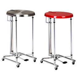 "18"" Round Lid Hamper, Chrome & Red Top---Chrome Top"