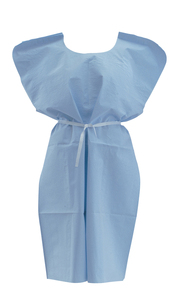 "Disposable Patient Gown 3-Ply, T/P/T, Blue, 30"" x 42"", 50/Cs"